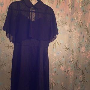 Little black dress with detachable caplet